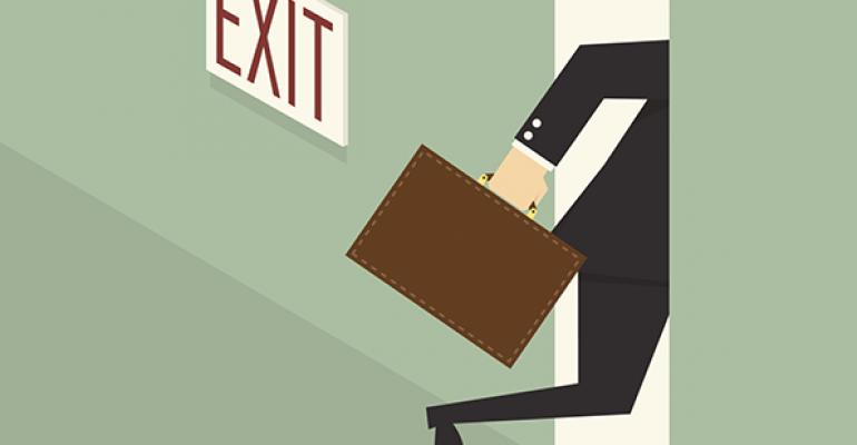 Advisor leaving out of exit door
