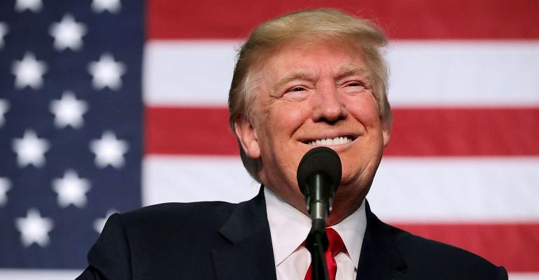 Trump American Flag smiling