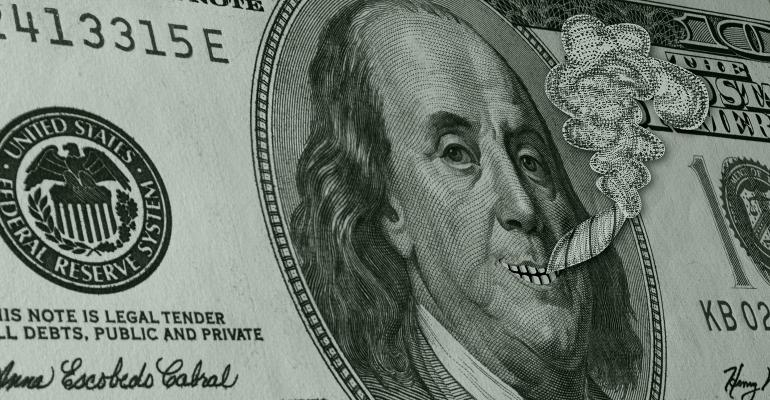 Ben Franklin $100 bill smoking pot
