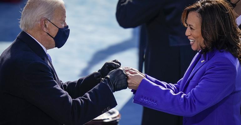 Joe Biden Kamala Harris fist bump presidential inauguration