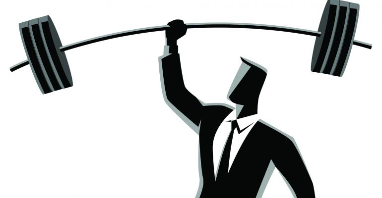 businessman lifting weights illustration