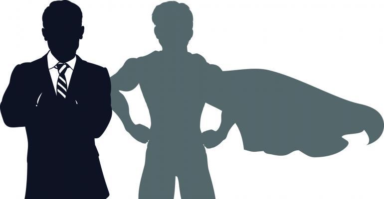 businessman superhero shadow