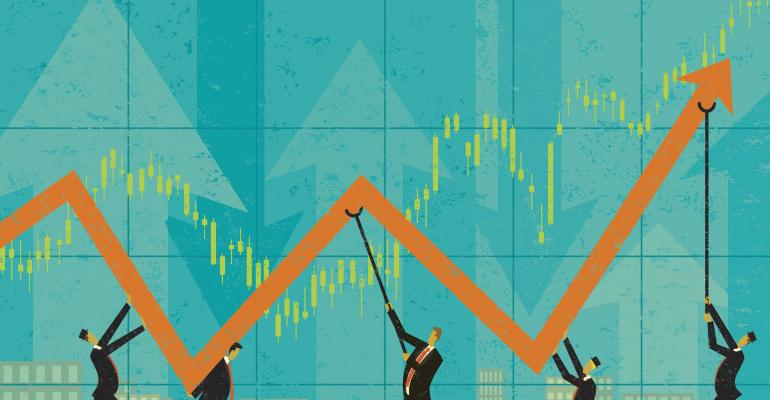 businessmen holding up profits illustration