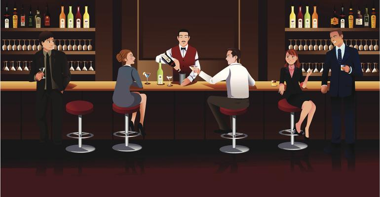 business people at bar illustration