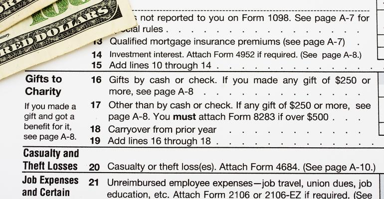 charitable gifts IRS form