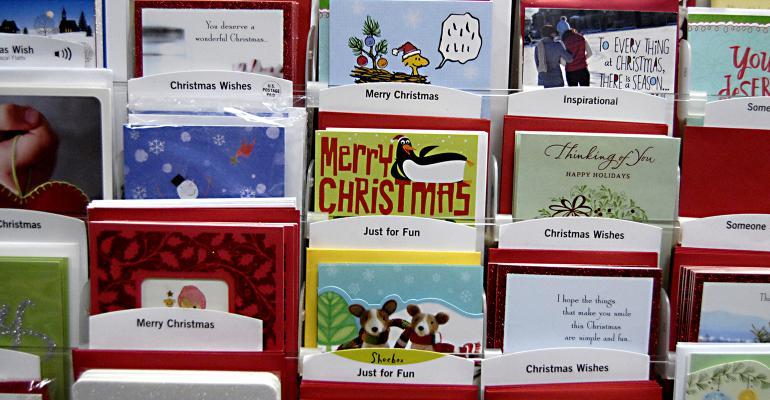 christmas cards on display