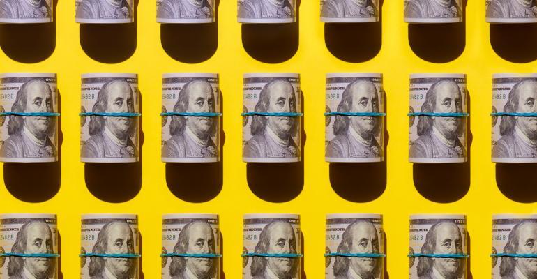 rolls dollar bills