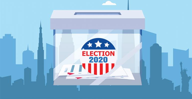 election ballot box cityscape