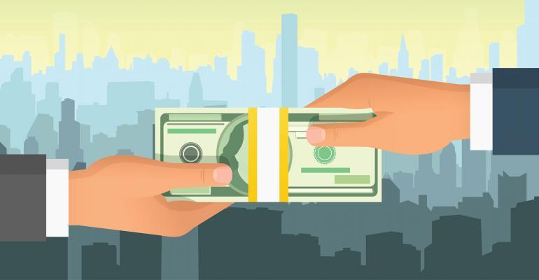 hands money cityscape