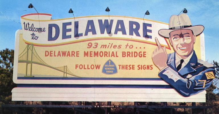 delaware postcard sign