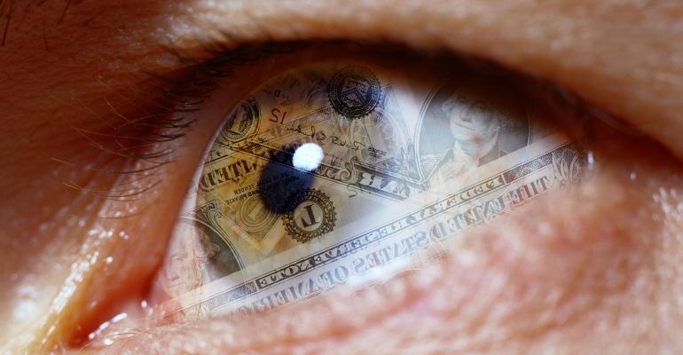 dollar bills eye