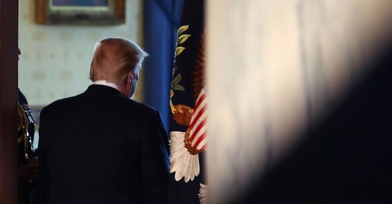 Donald Trump walking away