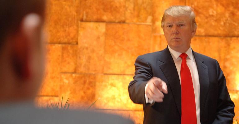 Donald Trump pointing