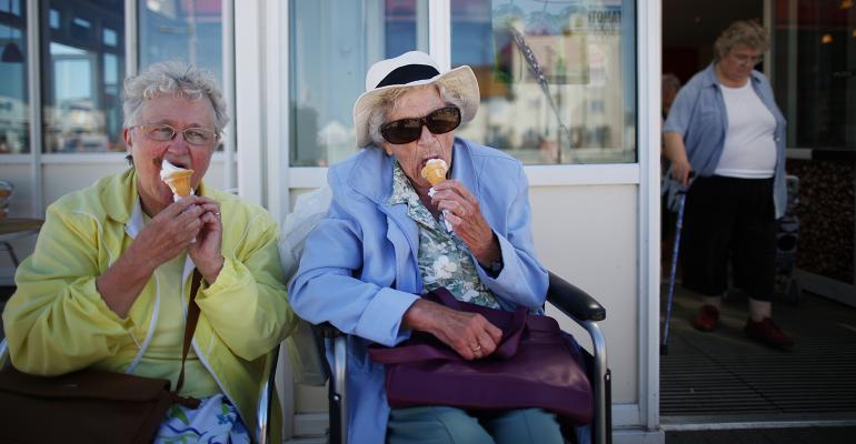 elderly women eating ice cream