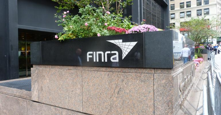 A FINRA sign outside the agency's office building.