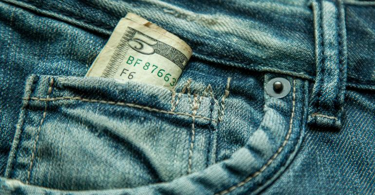 $5 bill jeans pocket