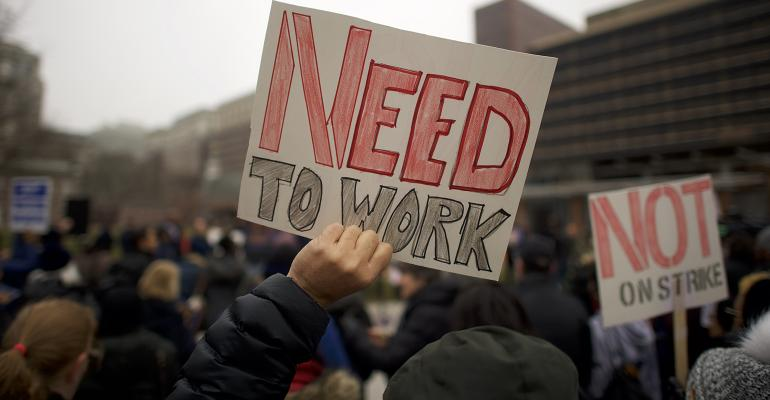 Federal government shutdown need to work sign