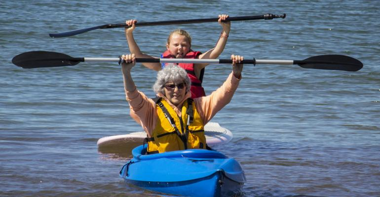 grandmother granddaugther kayaking