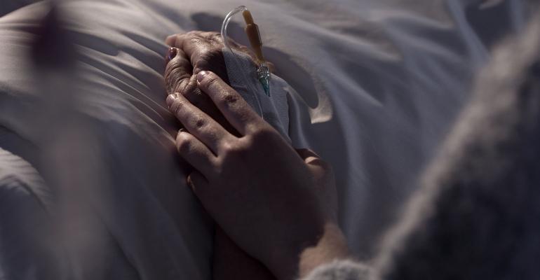hands hospital bed