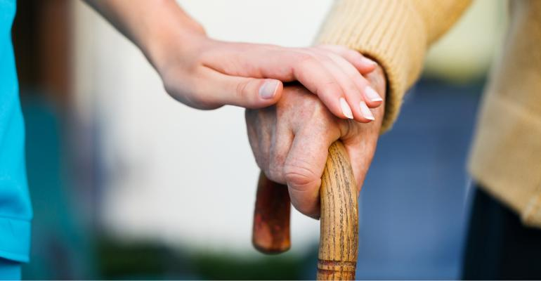 helping hand on cane
