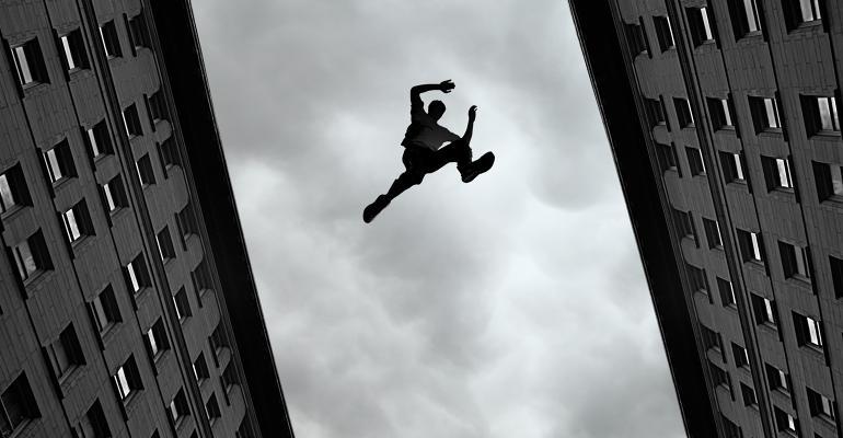 jumping between buildings