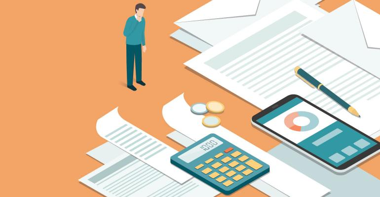 illustration: man looking at paperwork charts and calculator