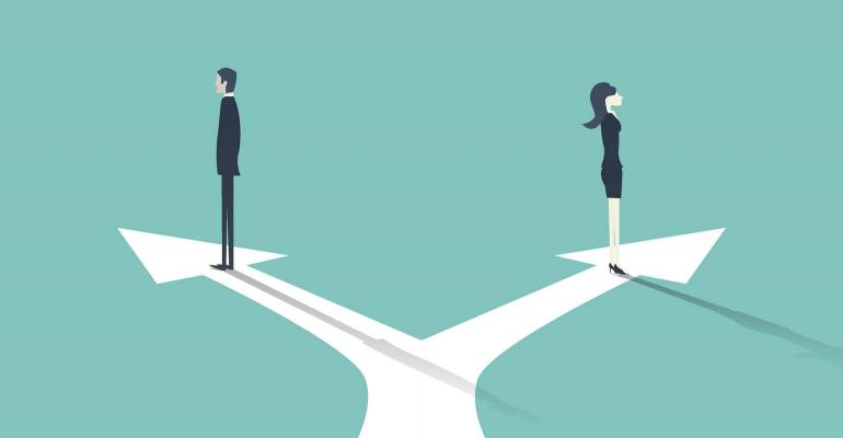 men women opposite directions
