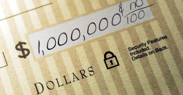 million dollars check