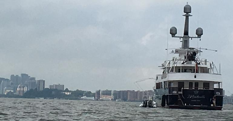 Super yacht for sale, Minderella, anchored in the Hudson River off New Jersey.