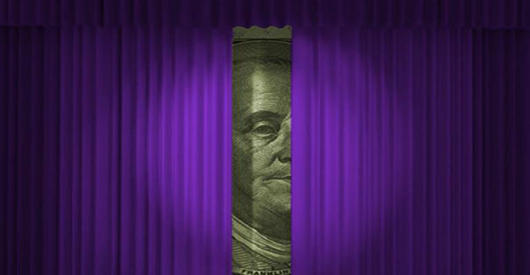money behind curtain