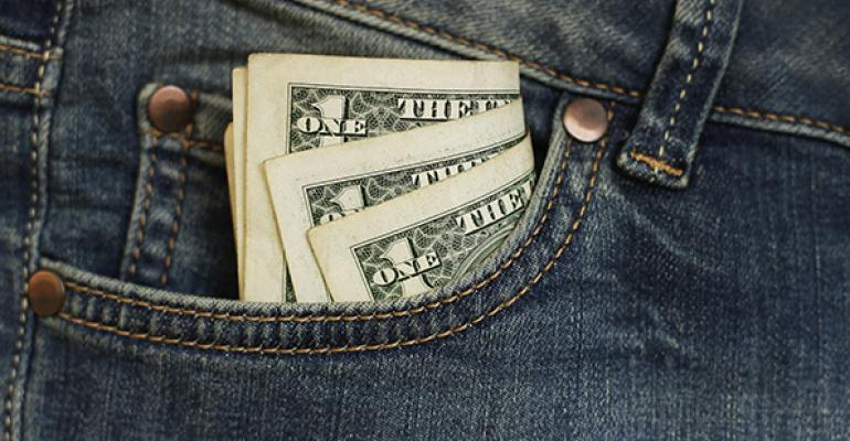 money in jeans pocket