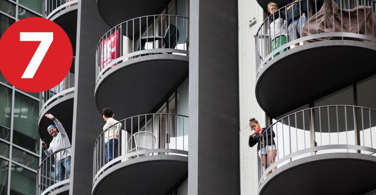 apartment building balconies