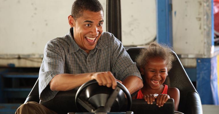 Obama driving bumper cars