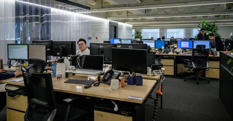 office workers distanced