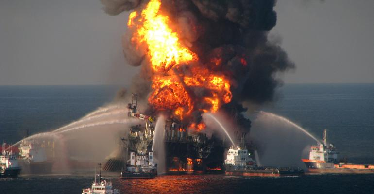 offshore oil rig on fire