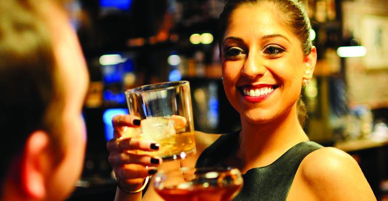 Priya Malani Comfortable during cocktail hour