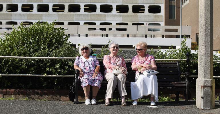 retired women on bench