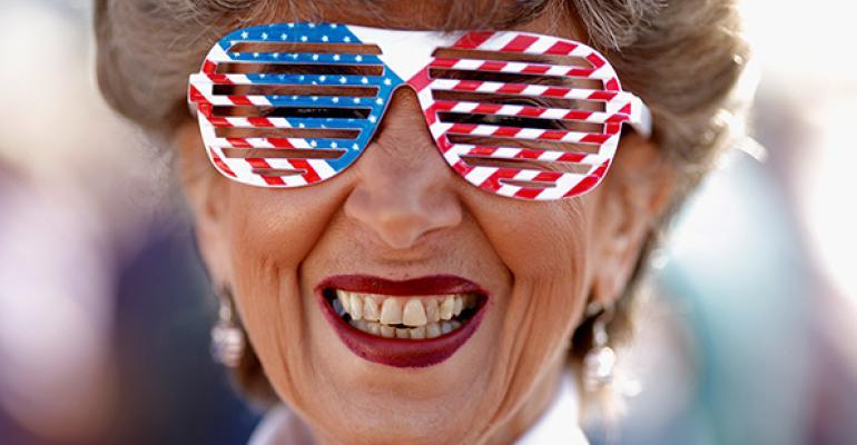 Retiree wearing American flag glasses