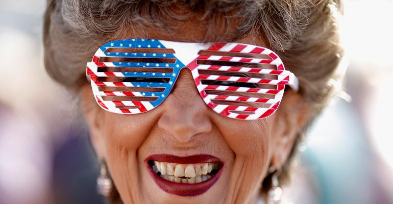 American flag glasses retiree