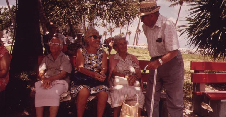 retirees park bench