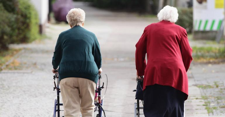 retirees walkers