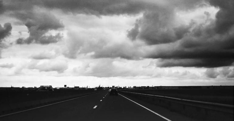road storm clouds