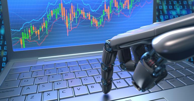 robot hand investing keyboard computer