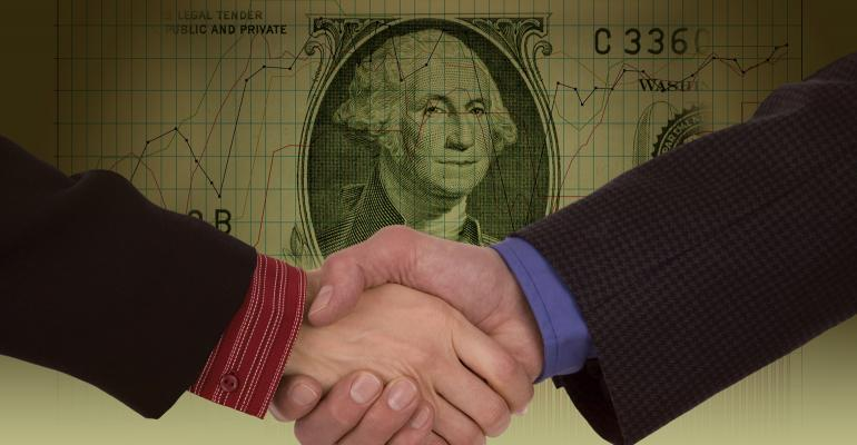 shaking hands money
