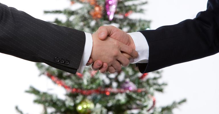 shaking hands christmas tree