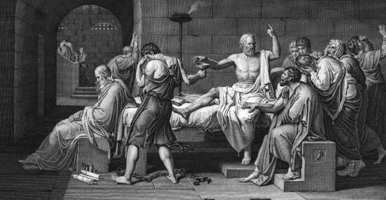 Socrates drinking poison