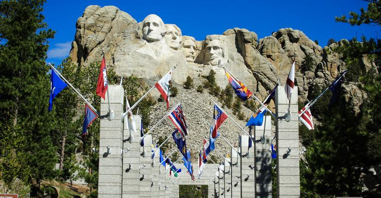 United States state flags Mount Rushmore