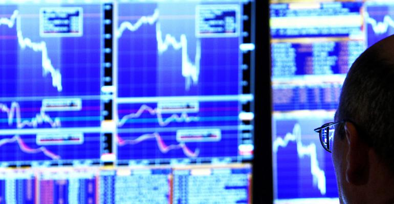 stock market blue screens