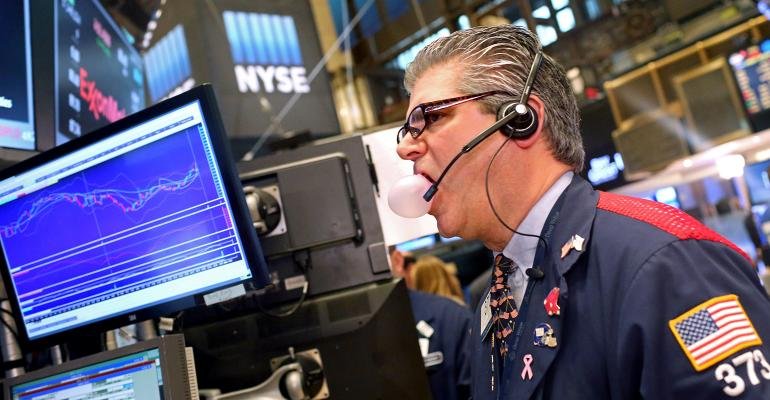 stock trader blowing bubble