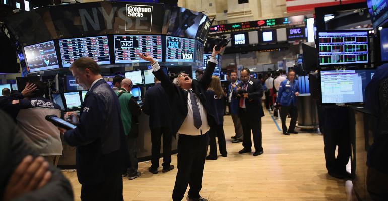 stock market trader hands up